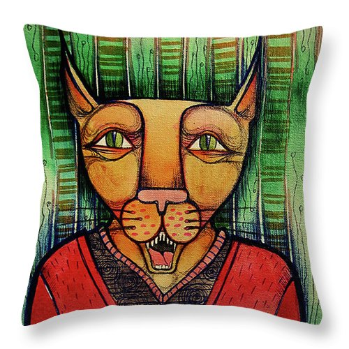 Artwork Throw Pillow featuring the painting Wise Cat by Lidia Matviyenko