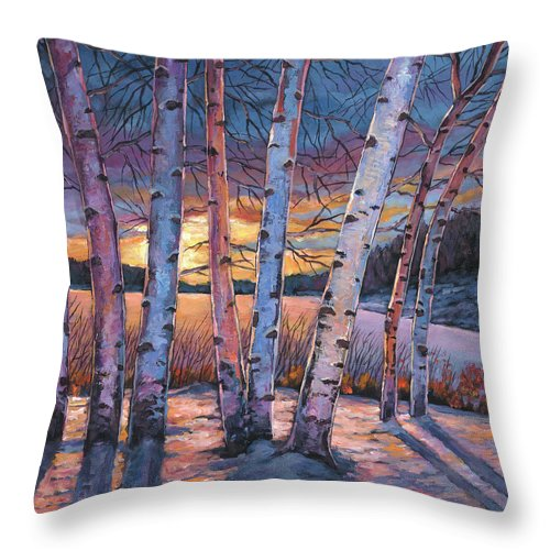 Winter Aspen Throw Pillow featuring the painting Wish You Were Here by Johnathan Harris