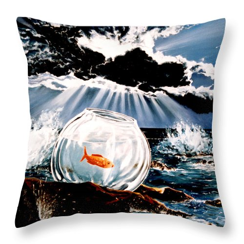 Surreal Throw Pillow featuring the painting Wish You Were Here by Mark Cawood