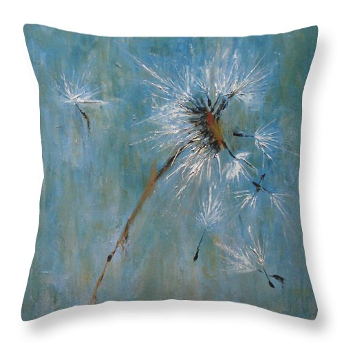 Landscape Throw Pillow featuring the painting Wishes by Barbara Andolsek