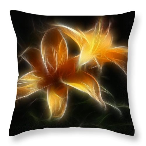 Lilies Throw Pillow featuring the digital art Wispy Lilies by Teresa Zieba
