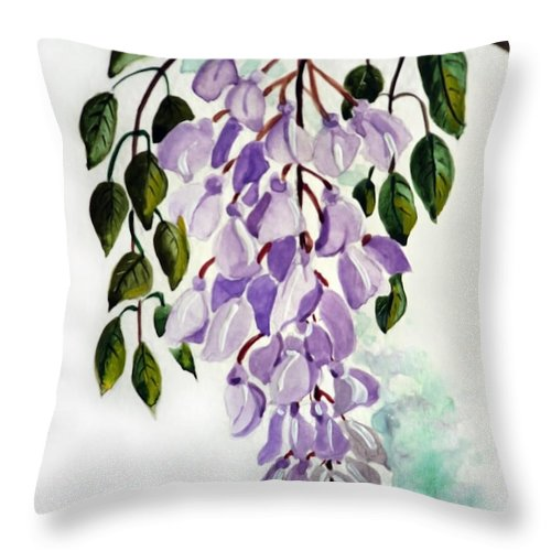 Floral Paintings Flower Paintings Wisteria Paintings Botanical Paintings Flower Purple Paintings Greeting Card Paintings  Throw Pillow featuring the painting Wisteria by Karin Dawn Kelshall- Best