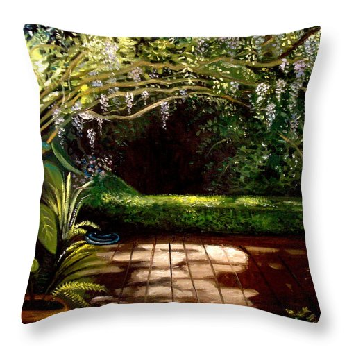 Landscape Throw Pillow featuring the painting Wisteria Shadows by Elizabeth Robinette Tyndall