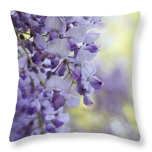 Wisteria Throw Pillow featuring the photograph Wisteria's Soft Floral Whispers by Jennie Marie Schell