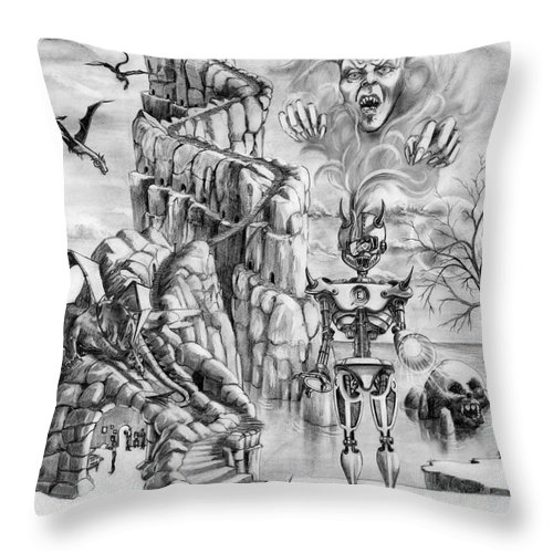 Witch Throw Pillow featuring the drawing Witch Hunter by Murphy Elliott