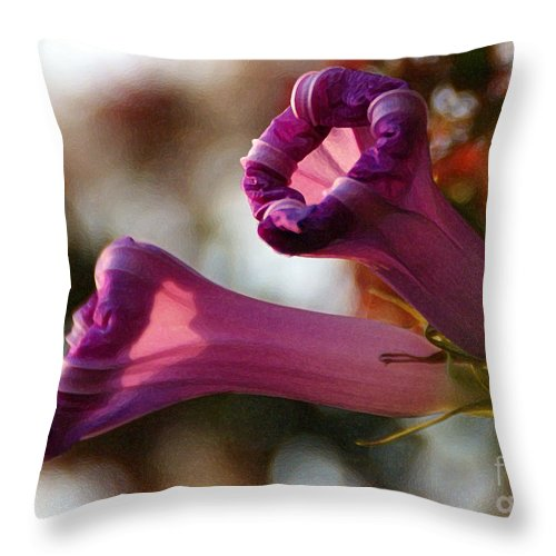 Flowers Throw Pillow featuring the photograph With Approach Of Dusk by Linda Shafer
