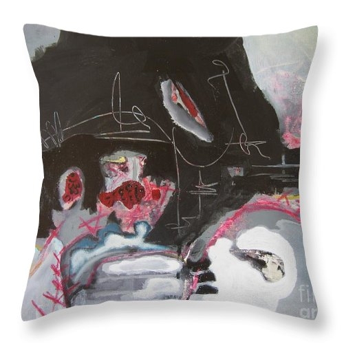 Abstract Paintings Throw Pillow featuring the painting With Little Escape From Life by Seon-Jeong Kim