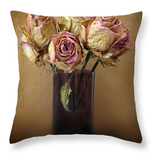 Still Life Throw Pillow featuring the photograph Withered Beauty by Jessica Jenney
