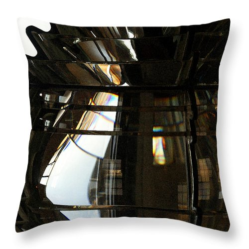 Lighthouse Throw Pillow featuring the photograph Within The Rings Of Lenses And Prisms - Water Color by Linda Shafer