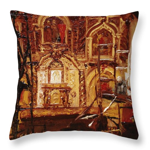 Chapel Throw Pillow featuring the painting Within The Scaffold by Barbara Andolsek