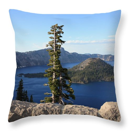 Wizard Island Throw Pillow featuring the photograph Wizard Island With Rock Fence At Crater Lake by Carol Groenen