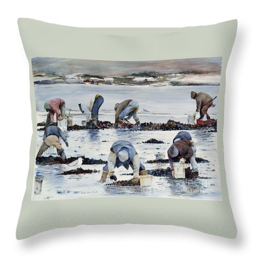 Clam Throw Pillow featuring the painting Wnter Clam Diggers by Dan McCole