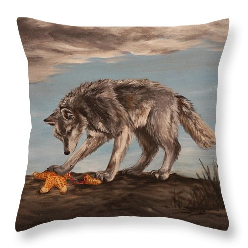 Wolf Throw Pillow featuring the painting Wolf And Sea Star by Michelle Miron-Rebbe