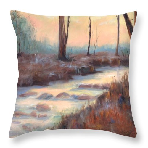 Creeks Throw Pillow featuring the painting Wolf Creek by Ginger Concepcion