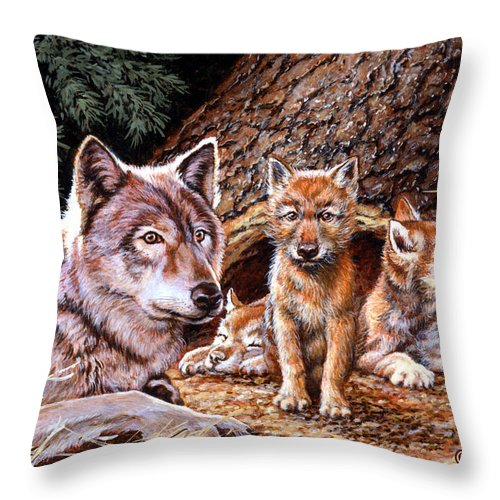 Wolf Throw Pillow featuring the painting Wolf Den by Richard De Wolfe