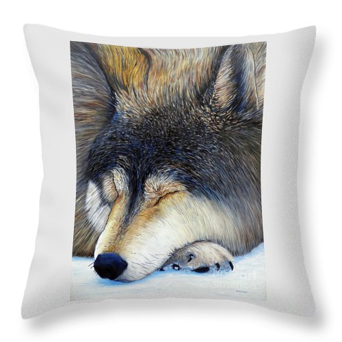 Wolf Throw Pillow featuring the painting Wolf Dreams by Brian Commerford