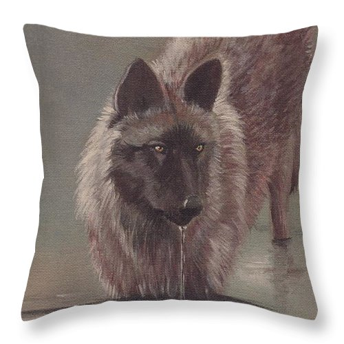 Animal Throw Pillow featuring the painting Wolf Drinking by Morgan Fitzsimons