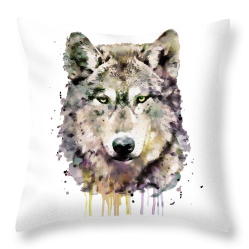 Wolf Throw Pillow featuring the painting Wolf Head by Marian Voicu
