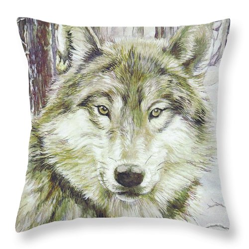 Wolf Throw Pillow featuring the painting Wolf Head by Morgan Fitzsimons