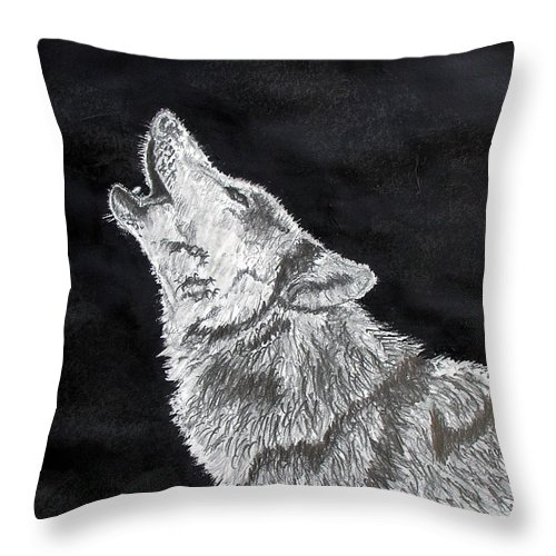 Pencil Throw Pillow featuring the drawing Wolf Howl by Stan Hamilton