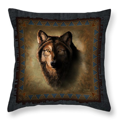 Wildlife Throw Pillow featuring the painting Wolf Lodge by JQ Licensing