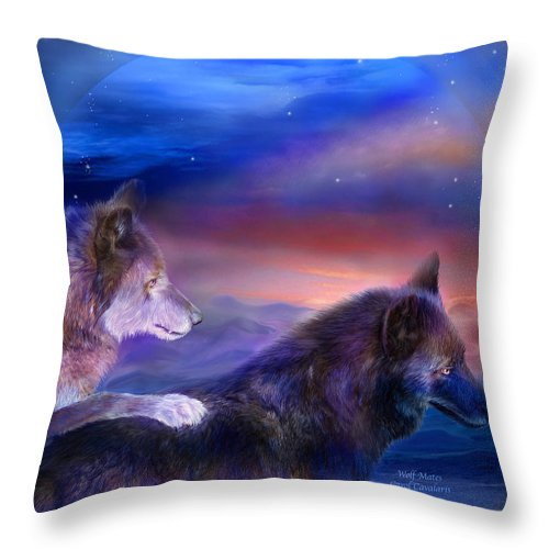 Wolf Throw Pillow featuring the mixed media Wolf Mates by Carol Cavalaris
