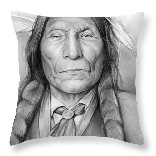 American Indian Throw Pillow featuring the drawing Wolf Robe by Greg Joens