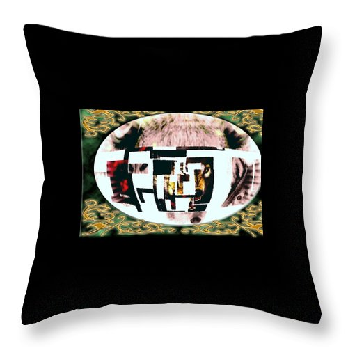 Wolf Throw Pillow featuring the mixed media Wolfman by Kim Rahal