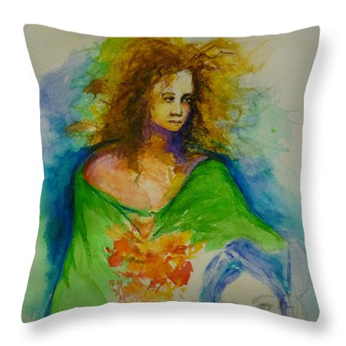 Spiritual Art Throw Pillow featuring the painting Woman 1 by Lizzy Forrester