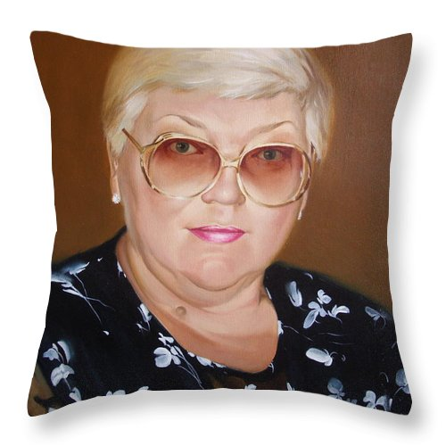 Art Throw Pillow featuring the painting Woman 1 by Sergey Ignatenko