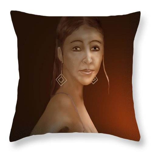 Woman Throw Pillow featuring the digital art Woman 10 by Kerry Beverly
