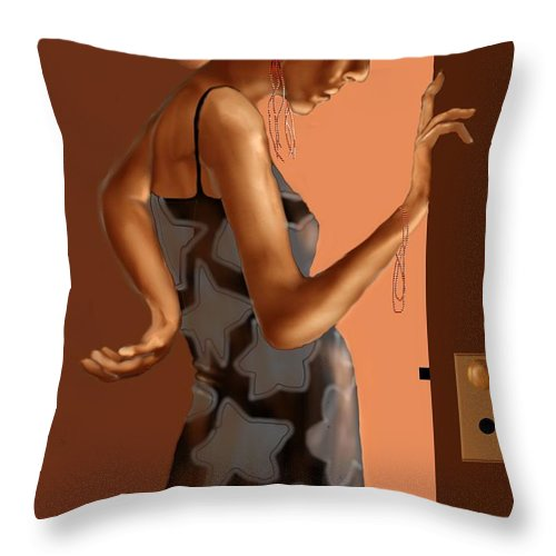 Woman Throw Pillow featuring the digital art Woman 37 by Kerry Beverly