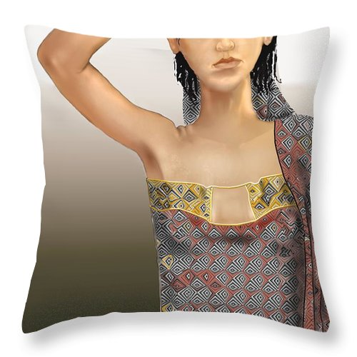 Woman Throw Pillow featuring the digital art Woman 5 by Kerry Beverly