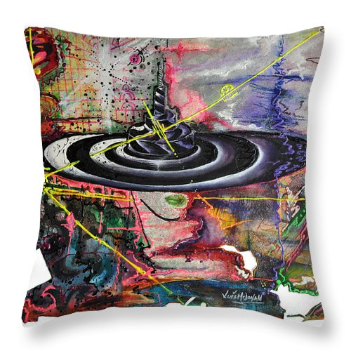 Mixed Media Throw Pillow featuring the painting Woman And Hat by Luis McDonald