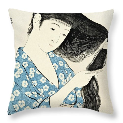 Art Throw Pillow featuring the painting Woman Combing Her Hair Kami Sukeru Onna by Hashiguchi Goyo