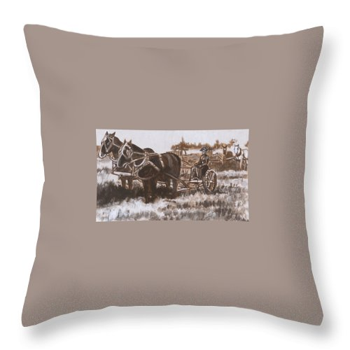 Historical Throw Pillow featuring the painting Woman Haying Historical Vignette by Dawn Senior-Trask