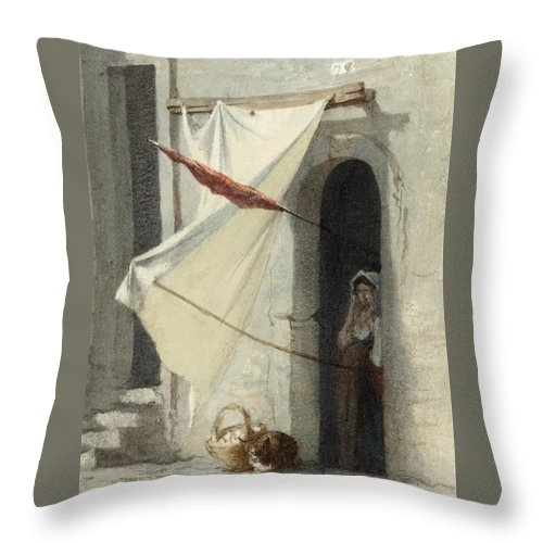 Carl Rauch Throw Pillow featuring the drawing Woman In A Doorway. Rome by Carl Rauch