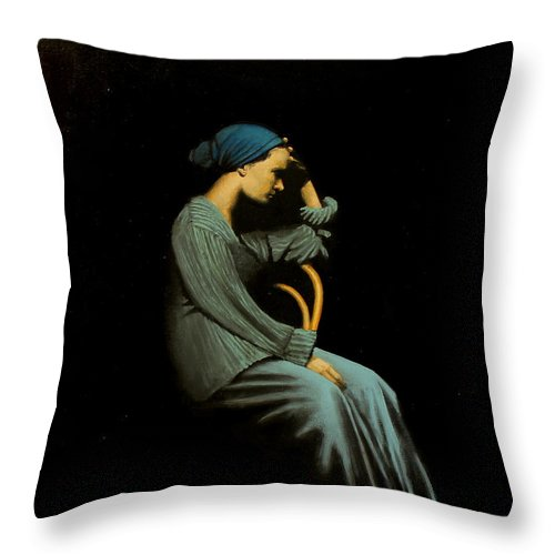 Woman Throw Pillow featuring the painting Woman In Blue by Szabo Gyula