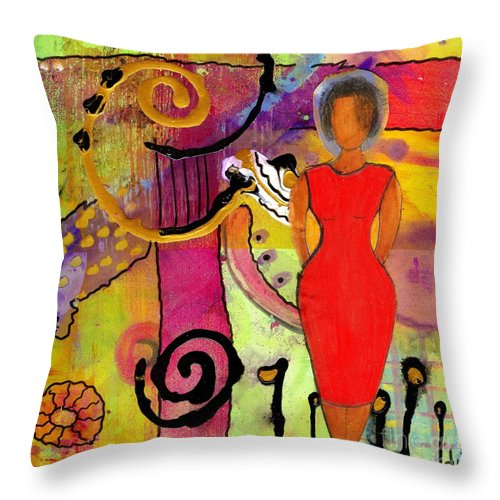 Woman Throw Pillow featuring the mixed media Woman In Red by Angela L Walker