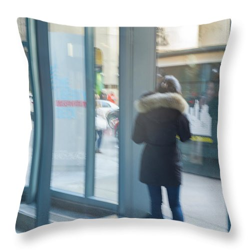 Woman Throw Pillow featuring the photograph Woman In Storefront by Joe Maggio