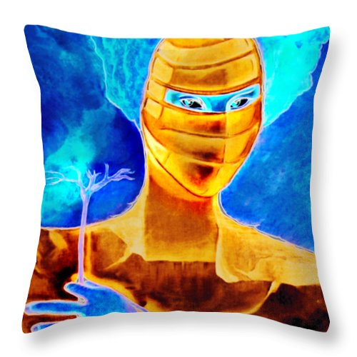 Blue Woman Mask Mistery Eyes Throw Pillow featuring the painting Woman In The Blue Mask by Veronica Jackson