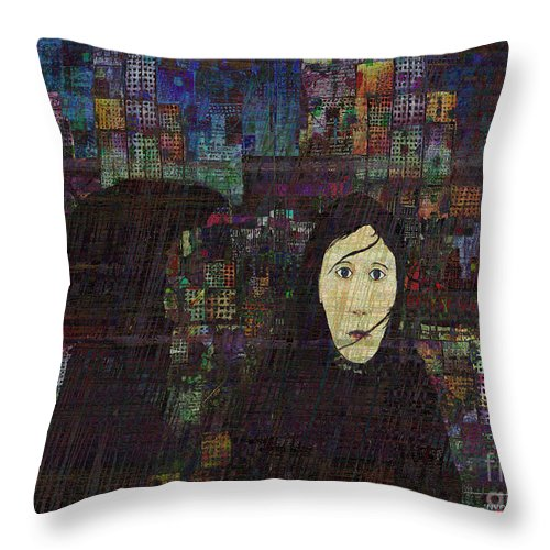 Rain Woman Throw Pillow featuring the digital art Woman In The Rain by Andy Mercer