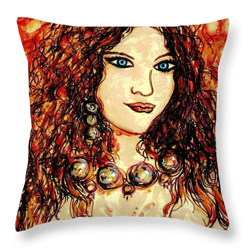 Woman Throw Pillow featuring the painting Woman Of Desire by Natalie Holland