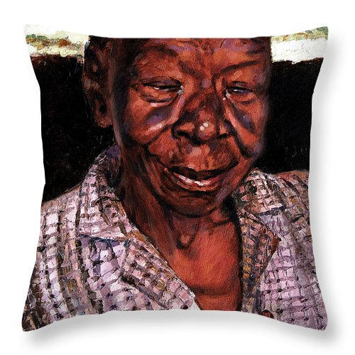 Black Woman Throw Pillow featuring the painting Woman of Faith by John Lautermilch