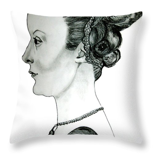 Drawing Throw Pillow featuring the drawing Woman Of Nobility by Donna Proctor