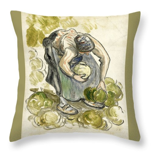 Camille Pissarro Throw Pillow featuring the drawing Woman Picking Cabbage by Camille Pissarro