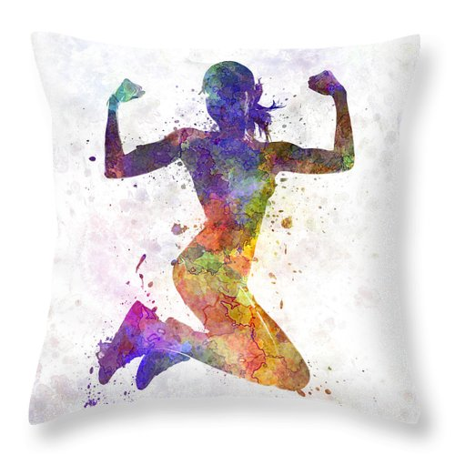 Athleticism Throw Pillow featuring the painting Woman Runner Jogger Jumping Powerful by Pablo Romero