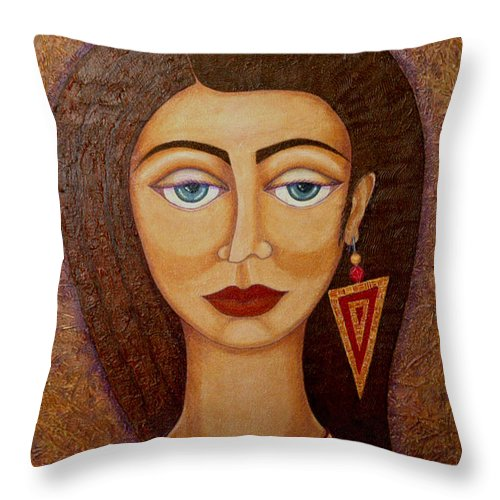 Market Throw Pillow featuring the painting Woman S Market by Madalena Lobao-Tello