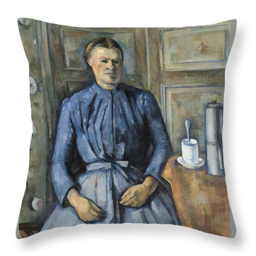 Paul Cezanne Throw Pillow featuring the painting Woman With A Coffeepot by Paul Cezanne