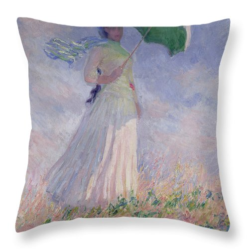 Woman Throw Pillow featuring the painting Woman With A Parasol Turned To The Right by Claude Monet